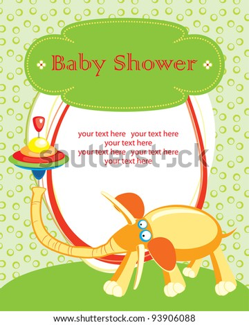 cute baby shower card with cute elephant