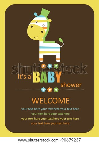 cute baby shower card with cute zebra. vector illustration - stock vector
