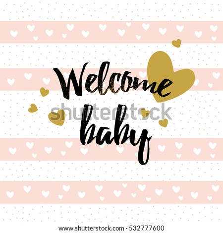 Cute baby shower card with hearts