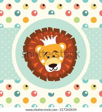 cute baby shower card with lion - stock vector