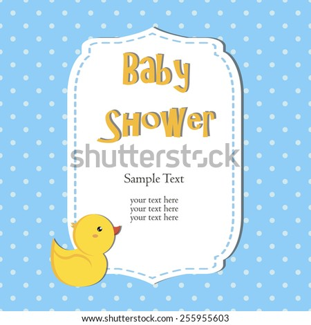 cute baby shower design. duck on blue background.