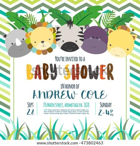 Cute baby shower design vector illustration stock vector 2018 cute baby shower design vector illustration jungle animals stopboris Images