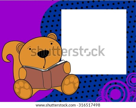 cute baby squirrel reading background in vector format - stock vector