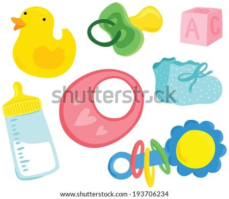 Cute Baby Stuff Set - stock vector