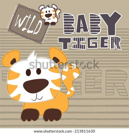 cute baby tiger striped background vector illustration - stock vector