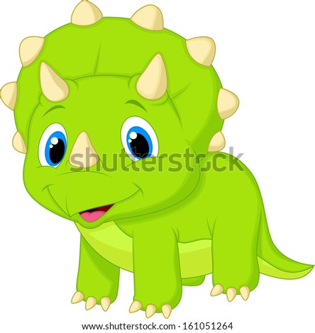 Cute baby triceratops cartoon - stock vector