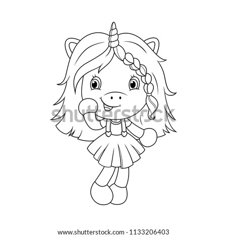 cute baby unicorn coloring page for girls vector illustration isolated on white background