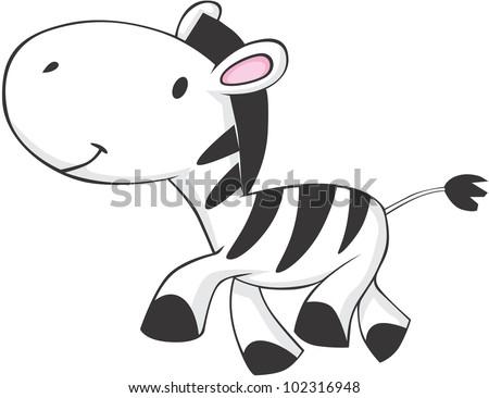 Cute Baby Zebra - stock vector