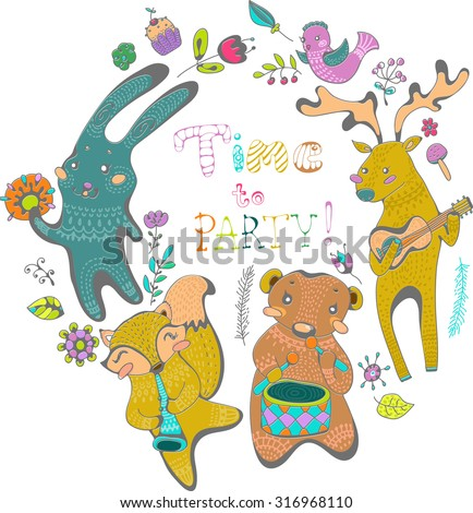 Cute background with animals and music instruments  in cartoon style. Bright childish holiday card - stock vector