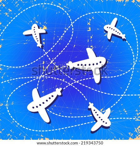 Cute background with colorful airplanes. Vector airplane illustration.Vintage old paper.Flat design. Retro. As wallpaper, design element. - stock vector