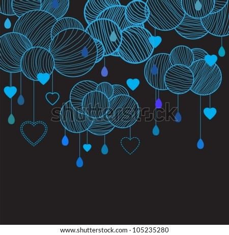 Cute background with hand drawing blue clouds over dark, vector illustration