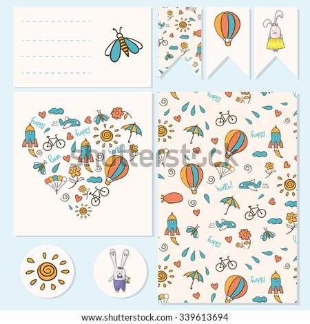 Cute background with rocket, cloud, airship, parachute, bicycle and kids toys. Vector kids template. Visit card and Elements of corporate identity for children. - stock vector