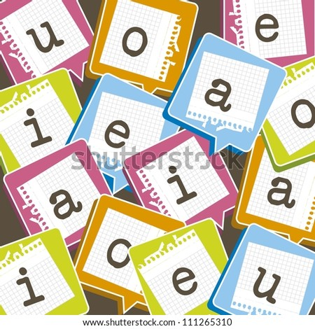 cute background with vowels over paper. vector illustration - stock vector