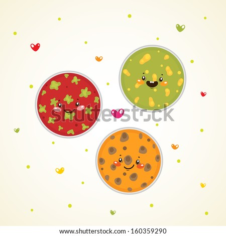 Cute bacteria in Petri dishes - stock vector