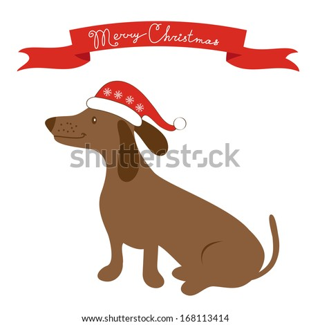 Cute badger dog in Santa hat - stock vector