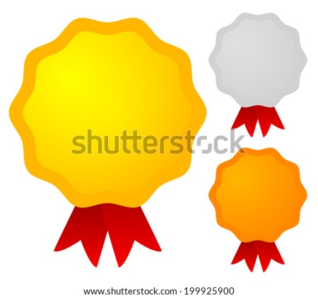 Cute badges in gold, silver and bronze colors - stock vector