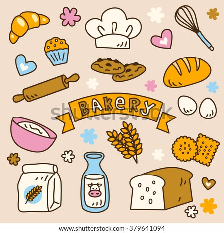 Cute bakery clip art set, with yummy cookies, biscuits, bread, toast, milk, wheat, eggs, in vector. - stock vector