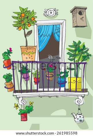 Cartoon balcony images reverse search for Balcony clipart
