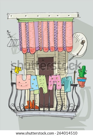 cute balcony - cartoon - stock vector