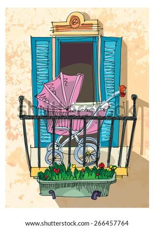 Balcony stock vectors vector clip art shutterstock for Balcony cartoon