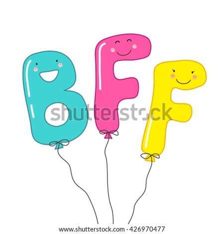 Cute balloons as smiling cartoon characters of letters BFF (Best Friends Forever), can be used as banner or greeting card for World Friendship Day, National Best Friends Day etc