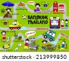 Cute Bangkok Thailand Guide Map illustration set - stock photo