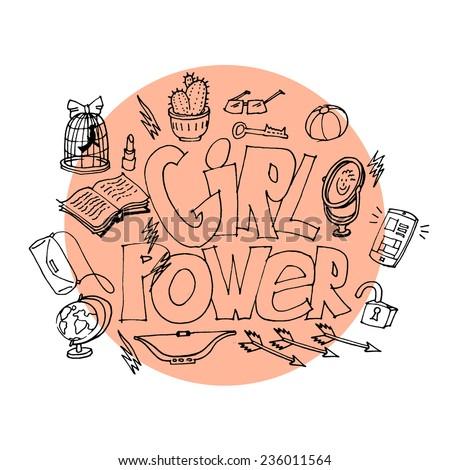 cute banner for girl power, vector illustration - stock vector