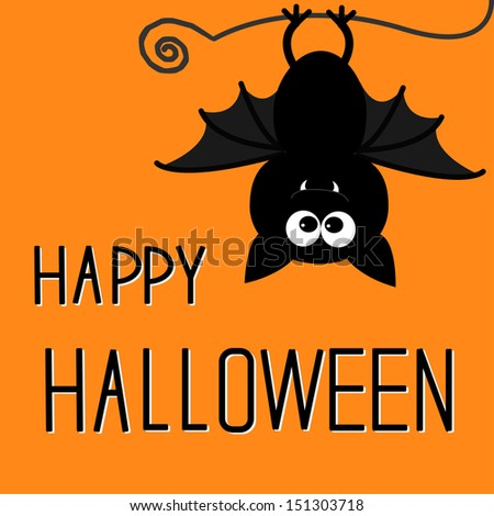 Cute bat. Happy Halloween card. Vector illustration - stock vector