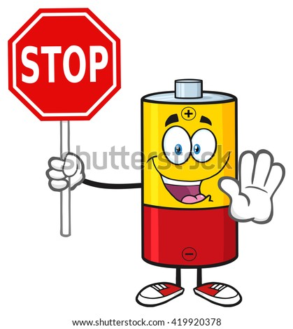 Cute Battery Cartoon Mascot Character Gesturing And Holding A Stop Sign. Vector Illustration Isolated On White - stock vector