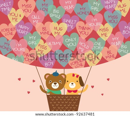 Cute Bear and Dog in A Hot Air Balloon with A Lot of Heart Shapes. Valentine's Day. - stock vector