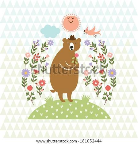 cute Bear and little Bird  - stock vector