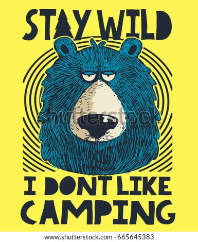 cute bear, camping and outdoor victor design