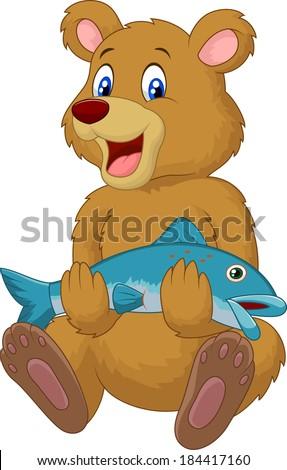 Cute bear holding salmon fish - stock vector
