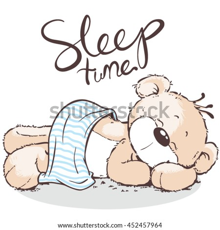 Bear vector polar bear sleep kid cartoon Vector | Premium ...