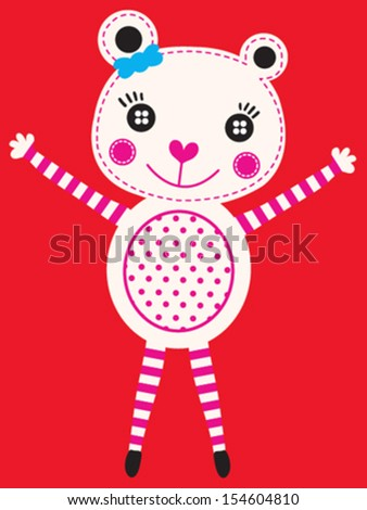 cute bear/T-shirt graphics/cute cartoon characters/cute graphics for kids/Book illustrations/textile graphic/graphic designs for kindergarten/cartoon character design/fashion graphic/cute wallpaper - stock vector