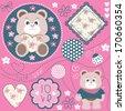 cute bear teddy with balloon vector illustration - stock vector