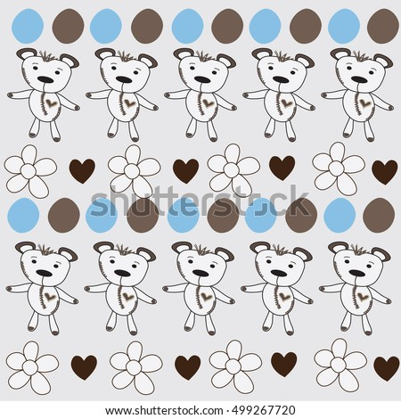 cute bears  in a row sample with hearts and flowers and dots vector illustration