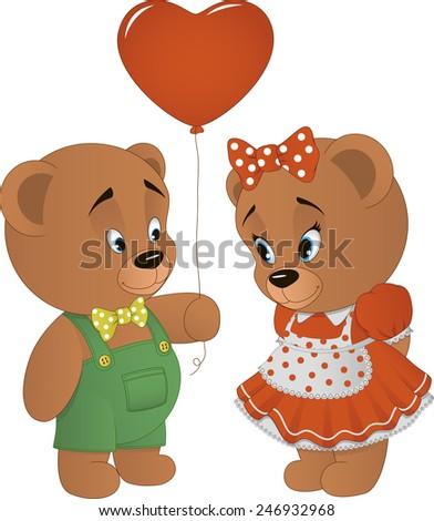 Cute bears with heart - stock vector