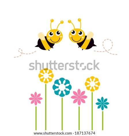 Cute beautiful bees with colorful flowers isolated on white - stock vector