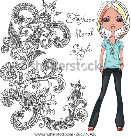 Cute beautiful fashionable hipster girl black and pattern of doodles and flowers - stock vector