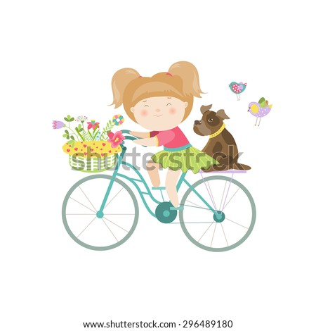 Cute beautiful girl in dress rides a bike. Vector isolated illustration - stock vector