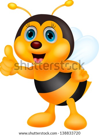 Cute bee cartoon thumb up