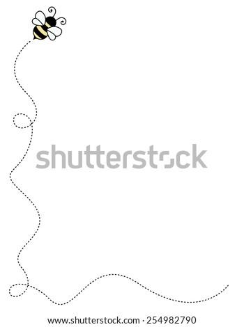 Cute bee frame side border / frame - stock vector