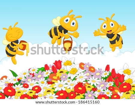 Cute bee with summer natural background - stock vector