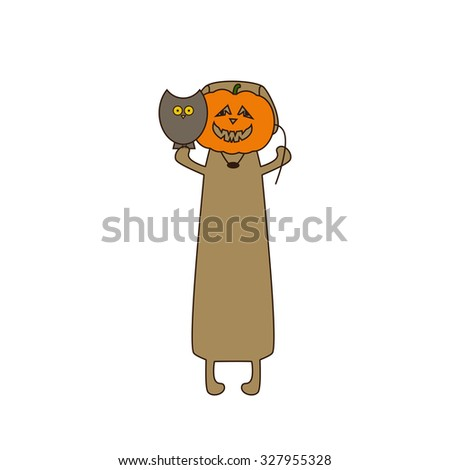 Cute beige colored brown contoured dachshund standing on hind legs with dissolved forelegs, holding mask in the shape of pumpkin in one paw and owl sitting on his another paw. Flat style illustration - stock vector