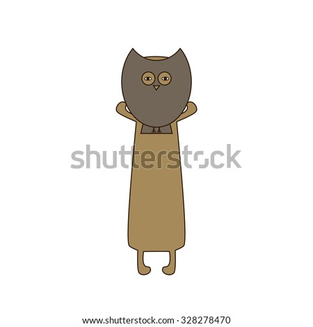 Cute beige colored brown contoured dachshund standing on hind legs with dissolved forelegs, holding mask in the shape of owl in his paws. Vector flat style illustration - stock vector