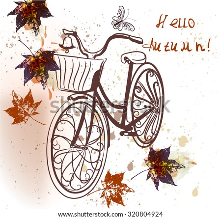 Cute bicycle with maple leafs. Vector autumn background hello autumn - stock vector