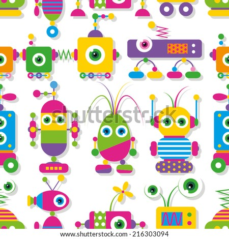 cute big-eyed robots collection pattern  - stock vector