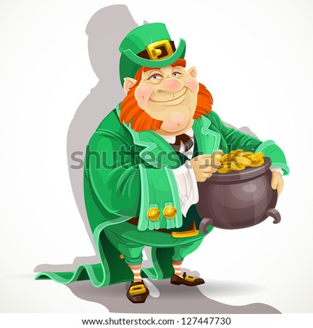 Cute big fat men Leprechauns guard the pot of gold - stock vector