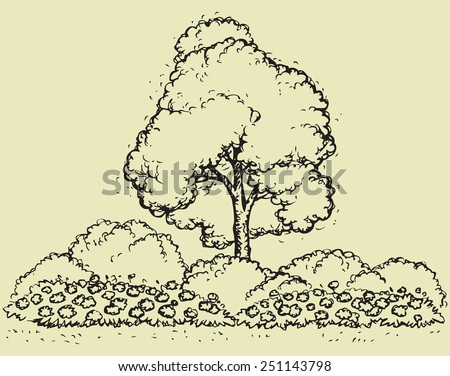 Cute big green deciduous tree with lush foliage and flower bed. Vector monochrome freehand sketchy linear ink drawn backdrop in style pen on paper with space for text on sky - stock vector